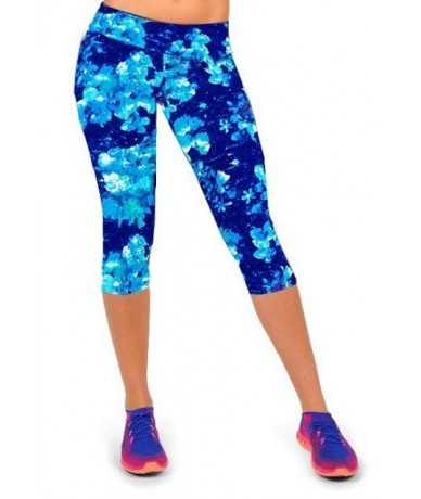 2018 New Summer Fashion Women Plus Size Capris Casual Dance Exercise Fitness Leggings Elastic Workout High Waist Floral Prin...