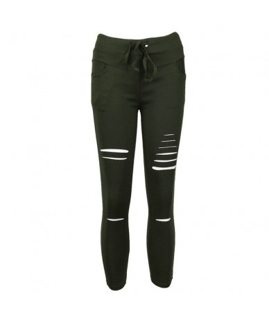 Women leggings Holes Pencil Stretch Casual Denim Skinny Ripped Pants High Waist Jeans Trousers - Arm Green - 4J3805054690-3