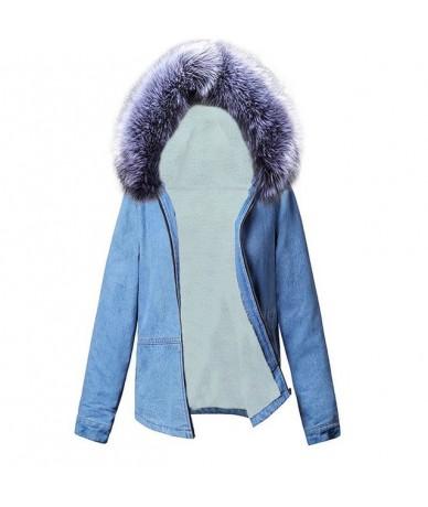 Fur Collar Solid Hooded Winter Jean Jacket for Women Casual Fashion Women all Fur lining Jean Coat Female outwear Denim Femi...