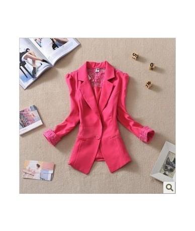 2019 Female suit women blazer elegant three quarter sleeve blazers woman outerwear women clothes women summer jacket - rose ...