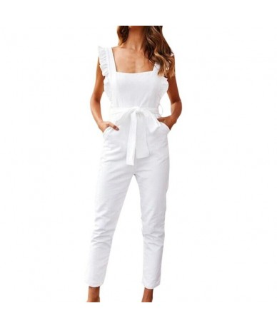 2019 Sexy Women Linen Shirred Frill Sleeves Pocket Jumpsuit Ladie Belte Summer Holiday Party Pink belt Jumpsuit AD - White -...