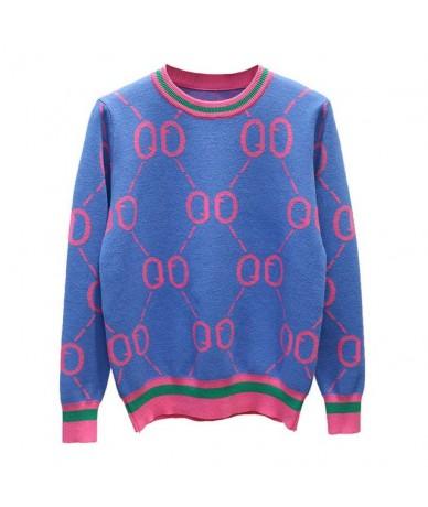 Luxury women Autumn winter sweater famous brand Classic design wool women's sweater fashion designer pull femme hiver - blue...