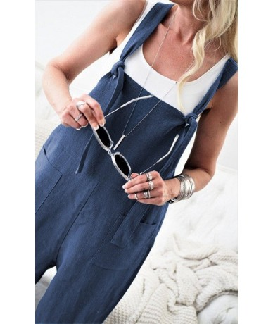 2018 New Style Fashion Women Casual Loose Solid Sleeveless Cotton Linen Jumpsuit Overalls Wide Leg - Blue - 4G3030182730-3