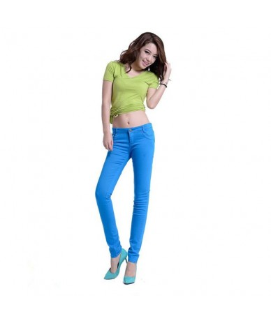 Whole cotton Seven colors pinkycolor Elastic force Pencil pants high waist jeans woman skinny women jeans mujer jean plus si...