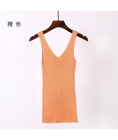 New summer knitted sweater V-necktie sling pitted ice silk sleeveless vest with women's bottom - Orange - 484141939257-3