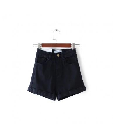 Summer Fashion Women Acid Wash Stretch Bull High-Waist Jean Cuff Shorts Casual Denim Faded Hot Elastic Denim Shorts - navy -...