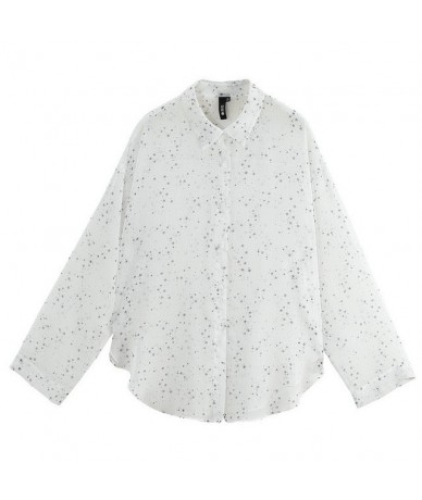 Women Blouses See Through Star Printed Stand Collar Long Sleeve Sheer Chiffon Blouse Shirt Ladies Tops Tee - White - 4Y41250...