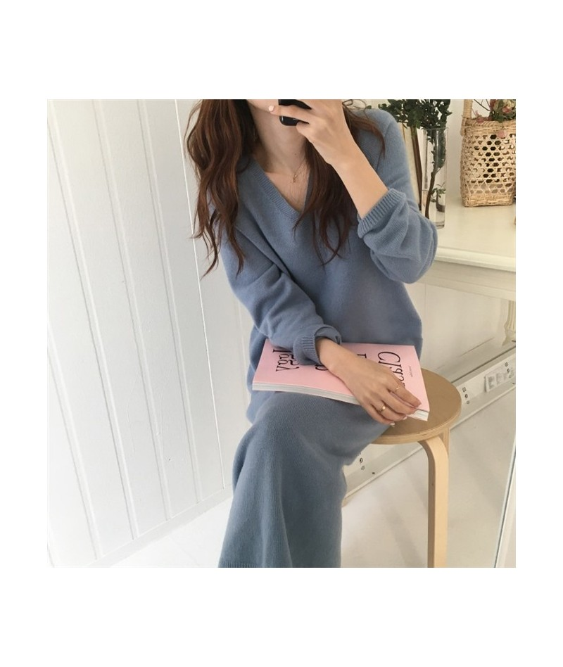 Fat mm Knitted Sweater 2018 New Autumn and Winter Dress Fat Sister Loose 200 Kinds Sweater Skirt - Black - 2D111118654443-2