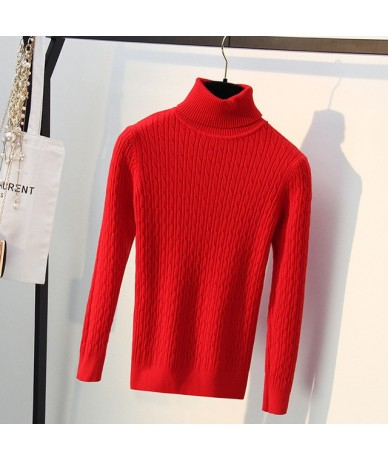 Women Hot Warm Sweaters Autumn Winter Turtleneck Pullover All Base Match Solid Sweaters Sweater For Women - Red - 4430747972...