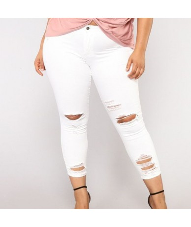 Plus Size Ripped Holes White Skinny Capris Jeans 4XL 5XL Summer Distressed Tassel Slim Casual Jeans Pencil Denim Pants Mom J...