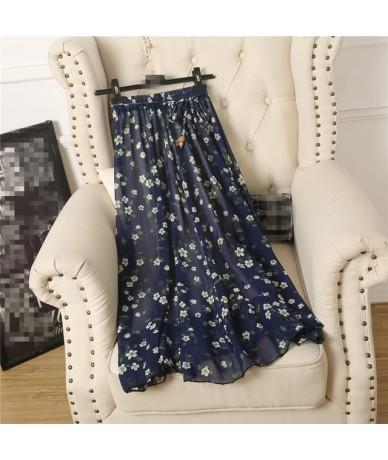 2018 summer new skirts wild Korean women skirts long floral pattern chiffon skirt - Blue - 4J3971755340-2