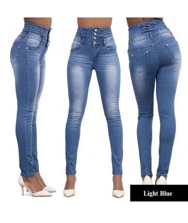 High Waist Jeans woman skinny stretch blue denim pencil pants 2019 Plus size XXL women slim elastic Push Up Jeans - Dark Blu...