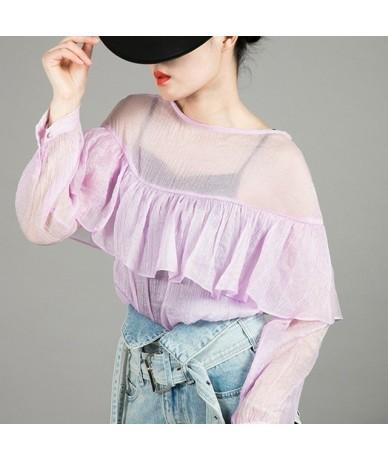 Elegant Solid Women Blouse O Neck Long Sleeve Ruffles Perspective Chiffon Shirt Female Summer 2019 Fashion New - purple - 4E...