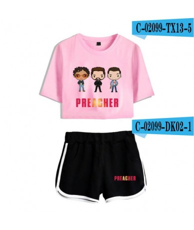 Preacher 2pc set streetwear navel T-shirt + shorts sets 2019 comfy women's shorts set 100% cotton - C02100 - 5 - 5T111220271...