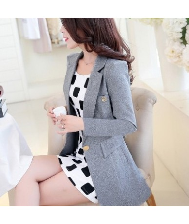 New 2017 Autumn Spring Long Elegant Women Blazers Candy Colors Causal Slim Ladies Suits Jackets Long Sleeve - Gray - 4E39356...