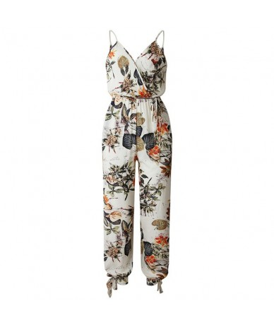 2019 Summer Rompers Womens Jumpsuit Foral Print V Neck Sleeveless Wide Loose Legs Pantsuit Lady Casual Overalls female Dunga...