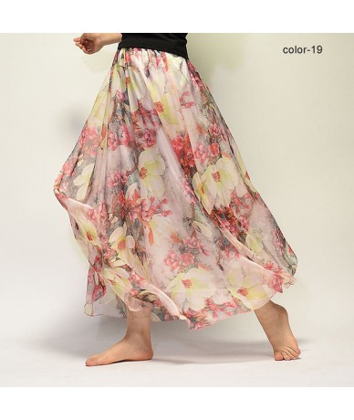 Women Fashion Florals Print Long Skirt Female Boho Style Elastic High Waist Chiffon Casual Beach Skirts Saias 19 Color Summe...