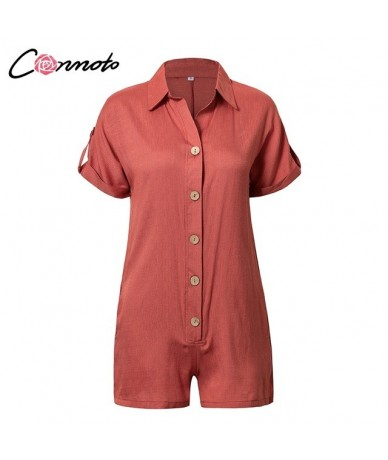 2019 Casual Summer Playsuits Women Solid High Fashion Beach Romper Playsuits Button Playsuit Rompers - Red - 32965485941
