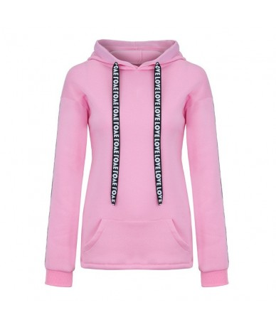Women hoodies Fall Winter clothes Long Sleeve Solid Sweatshirt Hooded Pullover Tops Shirt sudaderas mujer hoodie - Pink - 4Y...