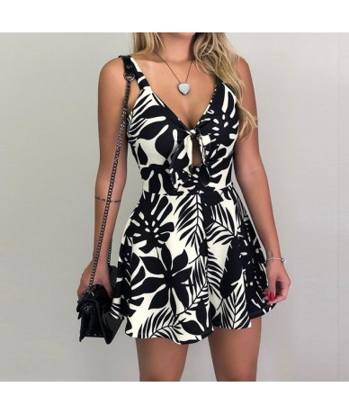 Womens Playsuit Sleeveless Rompers Summer Holiday Leisure Tie front Ladies V-neck Mini Floral - 1 - 4000084871432