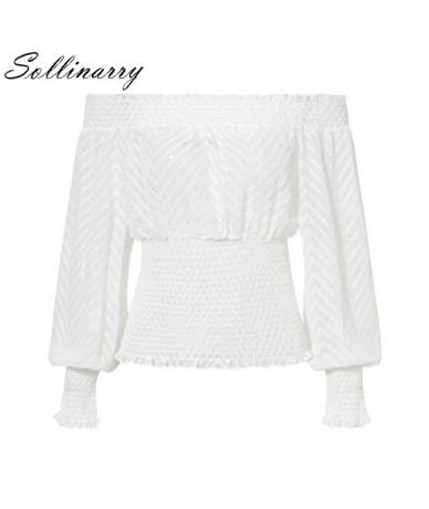 Feminine White Women Top and Blouses Long Sleeve Boho Ruffle bandage Shirts Elegant Mesh Off Shoulder Korean Blouse - White ...