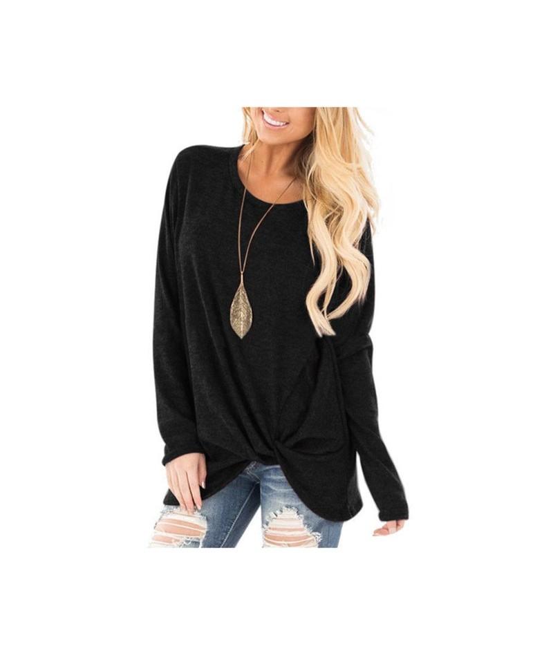 Hot Women clothing Loose O Neck tshirt long Sleeve Solid color twist Tee Shirts Ladies Winter Cotton 2018 Tops Camiseta Femi...