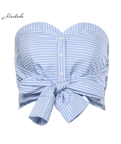 Women Autumn Striped Top Fashion Slash Neck Single Breasted With Bow Blue Backless High Street Sexy Crop Tops 2019 New - Blu...