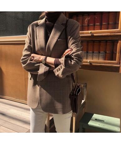 Vintage Female Jacket Single Breasted Pockets Women Blazer 2019 Notched Full Sleeve Fashion Female Suits Coat High Quality -...