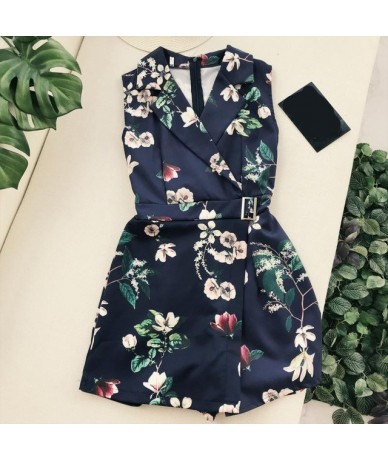 New Fashion Sexy Lapel Floral Print Rompers Women Sleeveless HIgh Waist Irregular Romper Female Casual Loose Overalls - Blue...