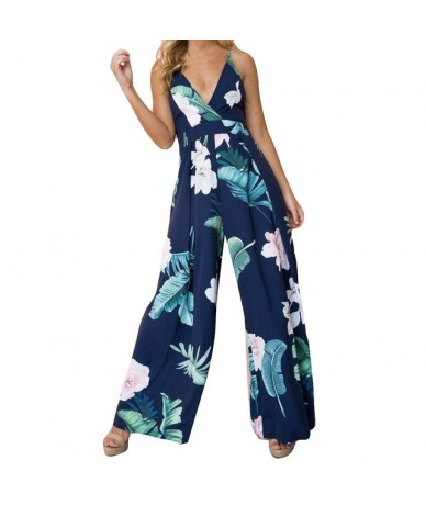 Womail bodysuit Women Summer Sleeveless Strip Jumpsuit Print Strappy Holiday Long Playsuits Trouser - Dark Blue - 5Y11122687...