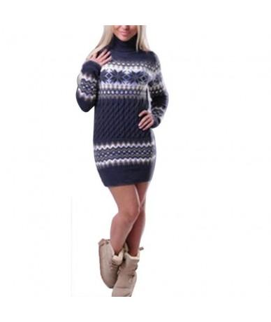 Winter Warm Christmas Sweaters Women New Year FashionTurtleneck Knitted Sweater dress Pullovers Bodycon Long Knitwear clothe...
