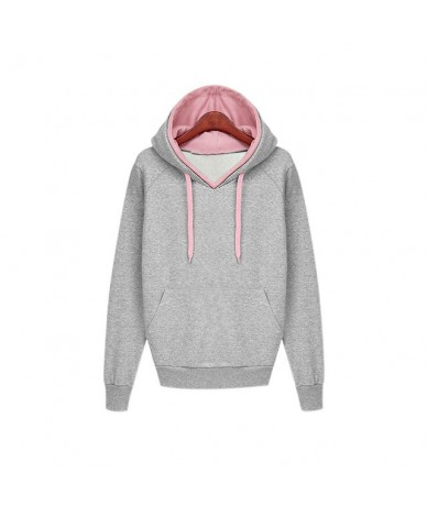 Fashion New Autumn Winter Women Casual Solid Hoodies Hooded Sweatshirts Pockets Pullovers Tops FDC99 - Gray - 4G4159525334-1