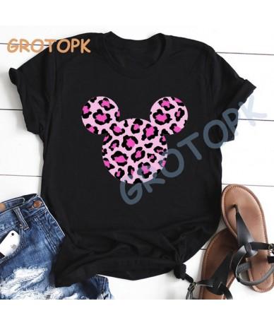 Flamingo Pink Mickey Head Kawaii Print Harajuku Black T-shirt for Women Summer Short Sleeve O-neck Soft Female T Shirt Top S...
