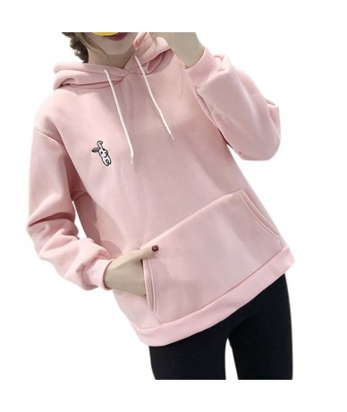 Women Autumn Hoodies Rabbit Ears Loose Long Sleeves Hooded Pullover Pockets TH36 - Pink - 4Y4154688126-2