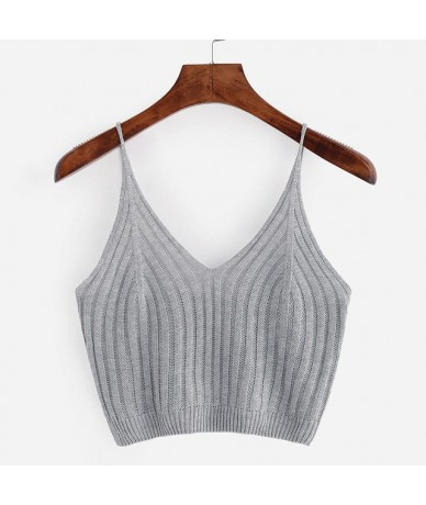 New Women Sexy Knitted Crop Top Crop Sleeveless Cropped Blusas Vest Tank Top Camisole - Gray - 444118846613-2