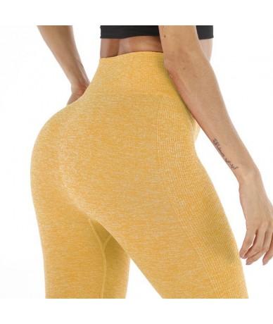 2019 Fashion Seamless Women's Leggings Ladies Athleisure Sweat Pants Jeggings High Waist Solid Fitness Leggings - 9134AB Yel...
