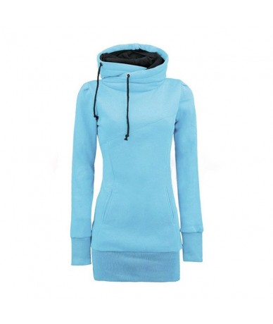 Hot Women Lady Top Hoodie Long Sleeve Drawstring Pocket Solid Color For Autumn Winter MSK66 - Blue - 4N4158617083-2