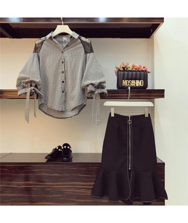 Spring Summer Two Piece Sets Women Plus Size Bow Shirt And High Waist Mermaid Skirt Sets Suits Office Korean Elegant Women's...