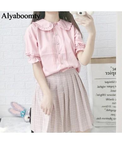 Japanese Summer Women Lolita Style Blouse Peter Pan Collar White Apricot Pink Blue Female Blusas Cute Kawaii Ruffles Girl's ...