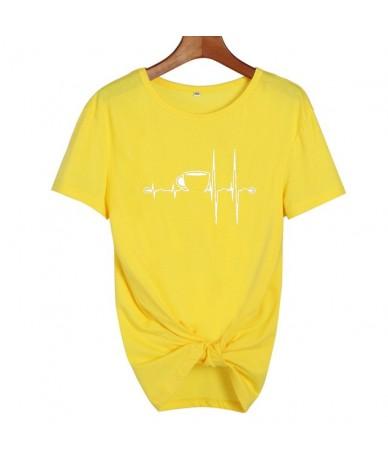 Coffee Heartbeat Graphic Tees Women Tumblr Hipster Punk Harajuku T-shirt Summer Funny t shirts Black White Tee shirt femme -...
