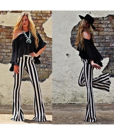 Lady fashion new street wear flare pant slim fitted striped leggings female spring autumn England style casual punk pants - ...