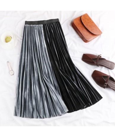 Women's Skirt Pleated Velvet Spring Autumn 2019 High Waist Patchwork Skirts For Women Velvet Pleated A Line Midi Skirt - gra...