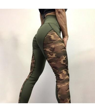 High Waist Leggings Women Camouflage Workout Leggings Female Patchwork Wrinkle Sporting Leggins - Army Green - 4D3984100438