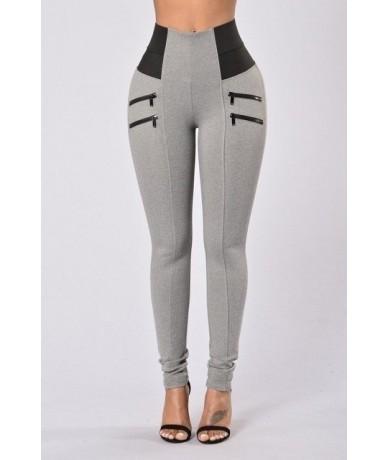 Casual Style Patchwork Workout Leggings Fitness Pant for Women High Waist Slim Push Up Zipper Plus Size Leggings drop shippi...