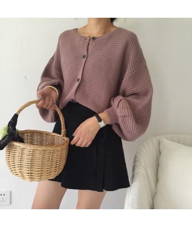 Women Fashion Oversized Long Lantern Sleeve Knitting Cardigan Sweater Women Knitted Casual Warm Cardigan Shawl Sweater kz493...