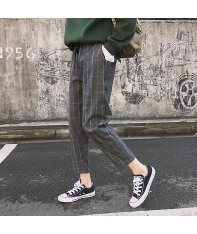 New Fashion Women Pants Pockets Plaid Womens Loose Casual Female High Waist Pant Females Korean Style Retro Chic Students Gi...