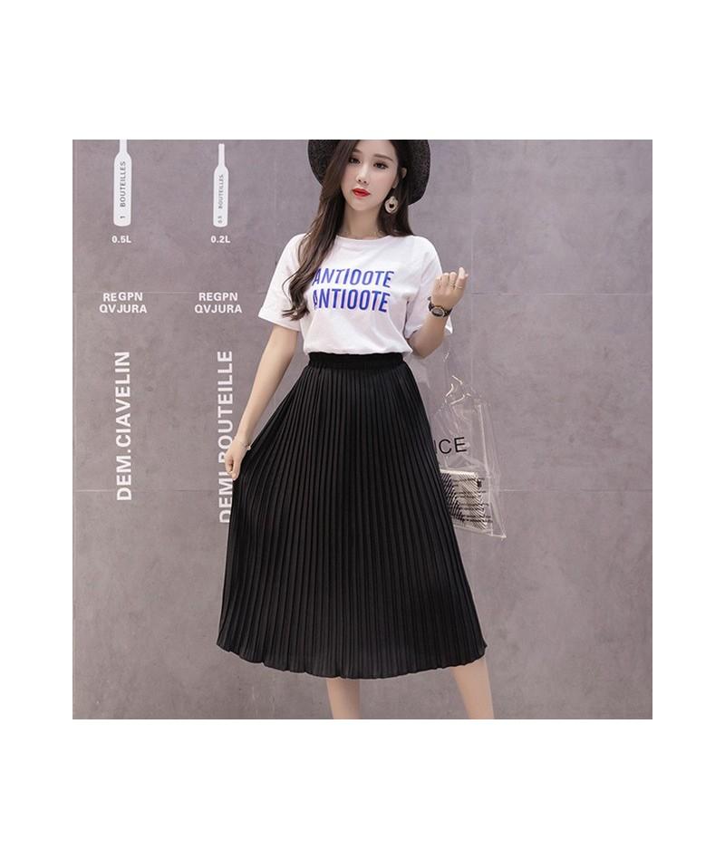 Women Pleated Midi Skirt Chiffon Elastic High Waist Tutu Long Skirts Female Summer Maxi Female Elegant Sexy Solid Korean Ski...