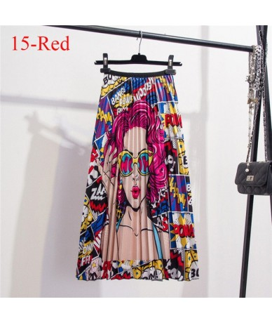 Women Skirts Fashion 2019 Elastic High Waist Pleated Skirt Women Autumn Winter Midi Skirts Womens A Line Long Skirt Ladies F...