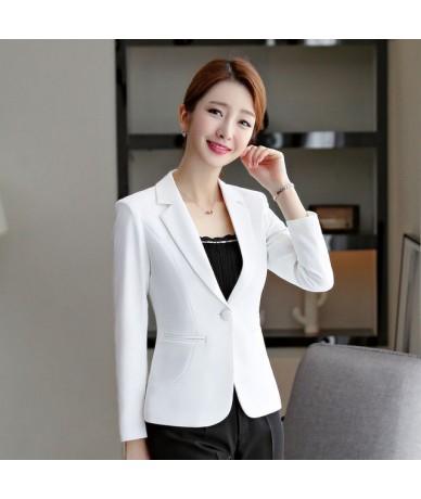 woman blazer 2019 formal jackets coat campera mujer office ladies elegant work wear blaser black tops plus size - White - 4V...