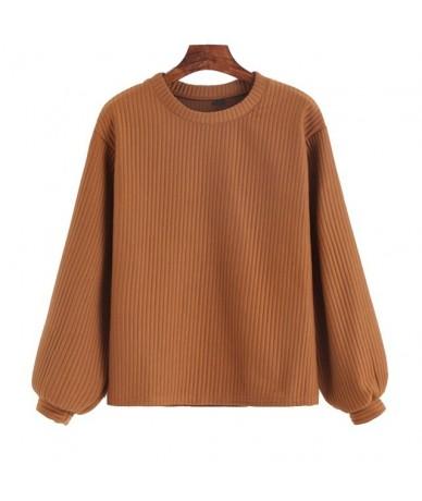 Lantern Sleeve Ribbed Sweatshirt 2019 Autumn Khaki Crew Neck Pullovers Women Long Sleeve Plain Sweatshirt - Khaki - 4D394535...